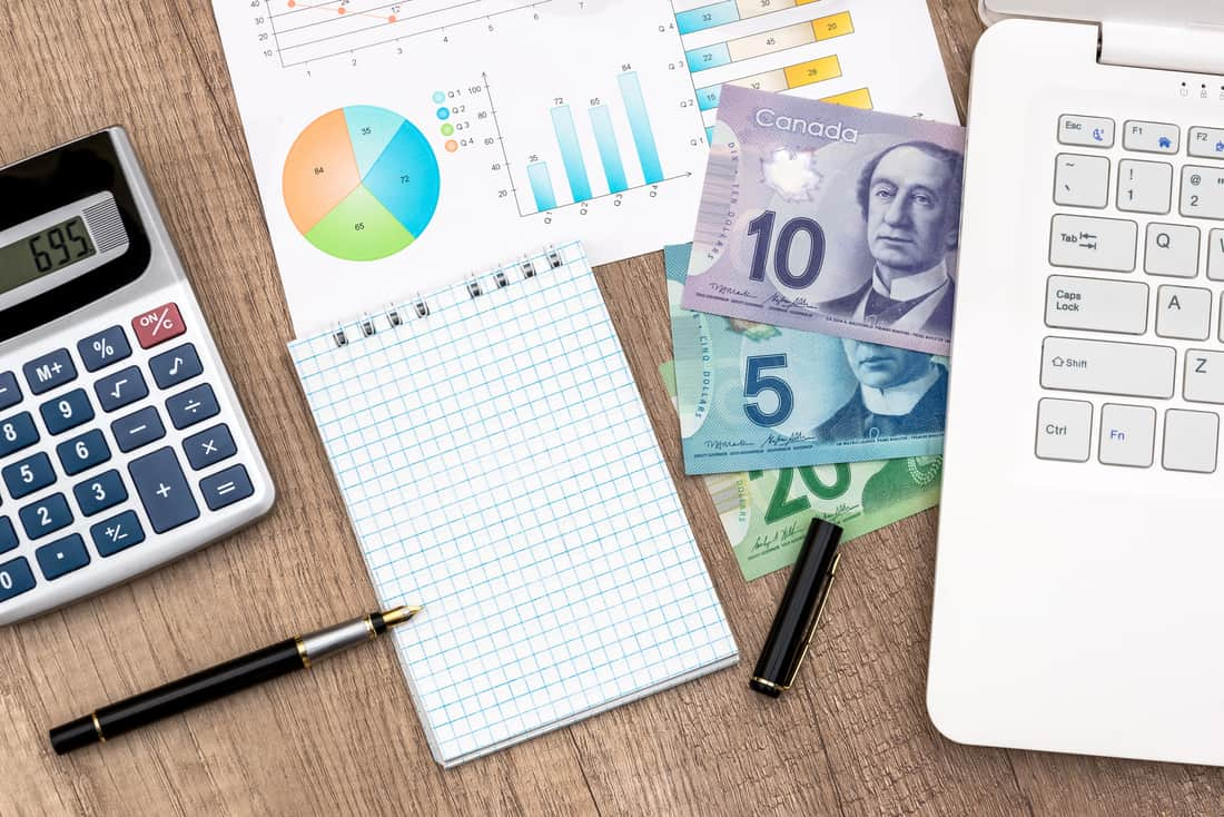 Image of canadian currency and organization tools